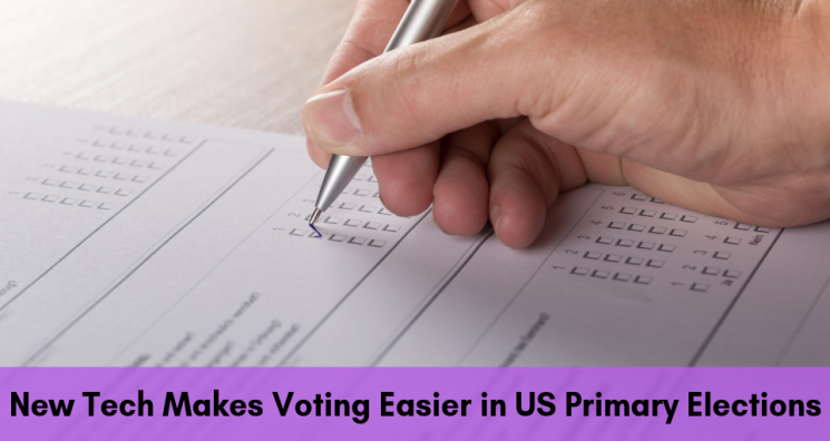 An image of a hand filling out checkboxes illustrates the topic of this Dreamscape Foundation blog about a new blind voting system called One4All that will be available across New Hampshire for the next US Primary Election.