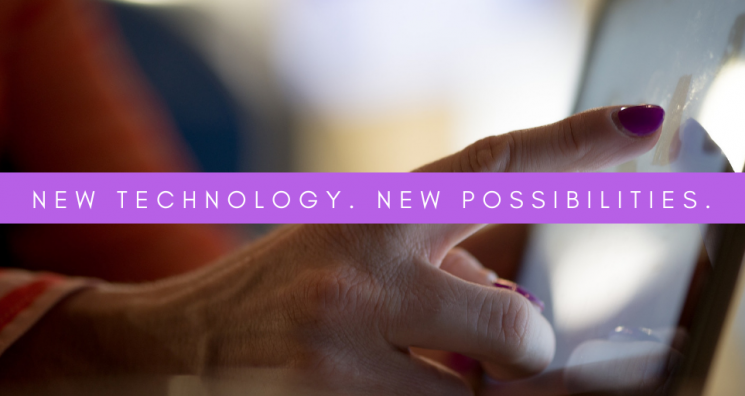 """A finger tapping a screen with the text overlay stating, """"New technology. New possibilities."""" This sits above a blog about assistive technology for the blind."""