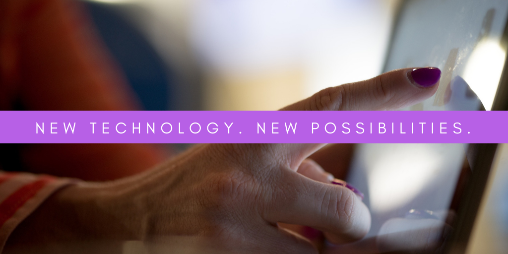 "A finger tapping a screen with the text overlay stating, ""New technology. New possibilities."" This sits above a blog about assistive technology for the blind."