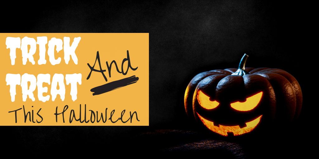 """A carved pumpkin with a devious smile sits next to text that reads """"Trick AND treat this Halloween."""" It represents a blog on how to make this year a giving Halloween that benefits others."""