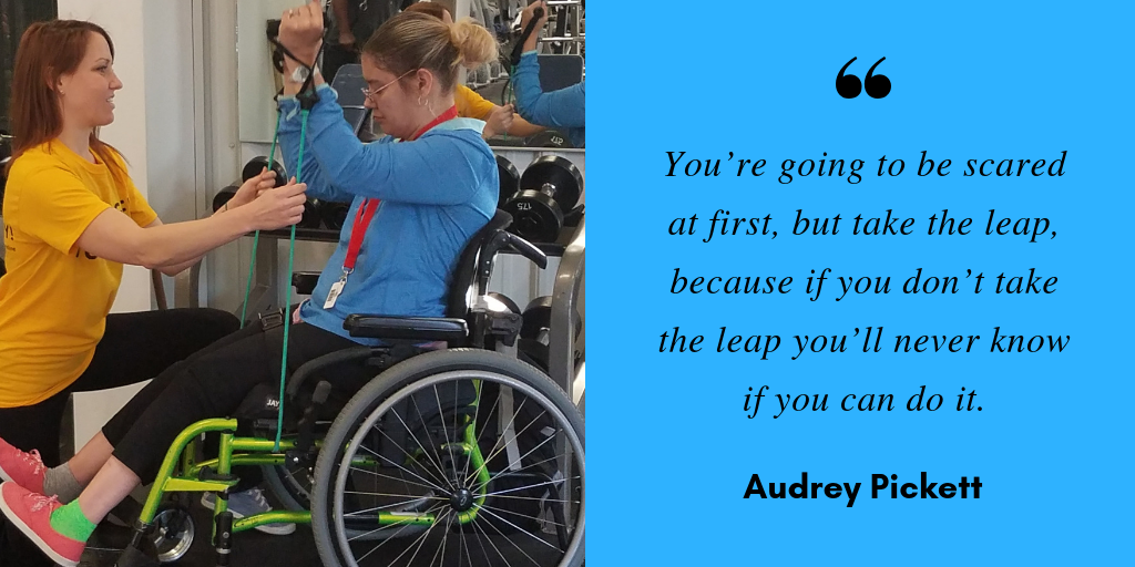 "A photo of Corri and Audrey training together at the Hannibal YMCA sits next to a quote from Audrey that says, ""You're going to be scared at first, but take the leap, because if you don't take the leap you'll never know if you can do it."""