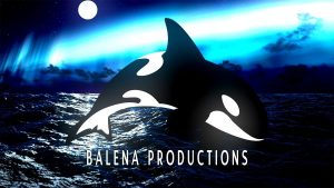 The image of a killer whale with an ocean backdrop sits above the words Balena Productions.