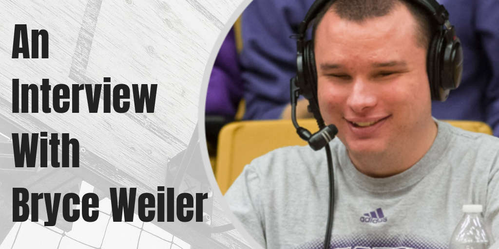 "An image of Bryce Weiler commentating is overlayed on a black and white photo of a basketball hoop. Text saying ""An interview with Bryce Weller"" sits to the left, defining the focus of this Dreamscape Foundation interview."