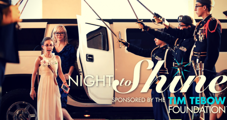 "An image of a young woman stepping out of a limo onto the red carpet at a Naples Night to Shine event sits behind the event's logo stating, ""Night to Shine sponsored by the Tim Tebow Foundation."""