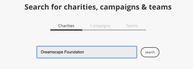 A screenshot of Tiltify's charity search bar.