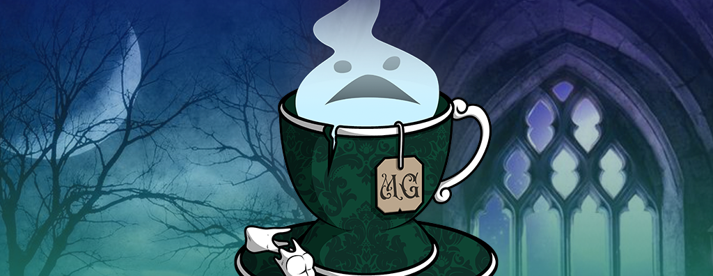 """Alt text: The image shows MrsGothicc's logo of a ghost inside a chipped teacup. Beside it is text reading, """"MrsGothicc Charity Stream, Sunday, May 16th, 1:00pm EST, Fall Guys Ultimate Knockout."""""""